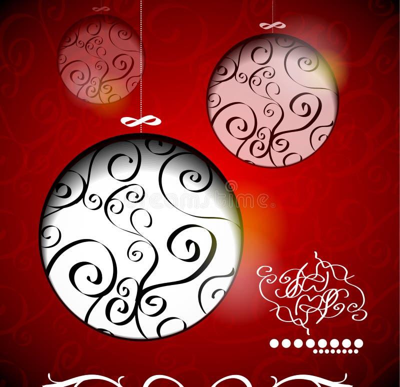 Bolas creativas de la Navidad con caligráfico libre illustration