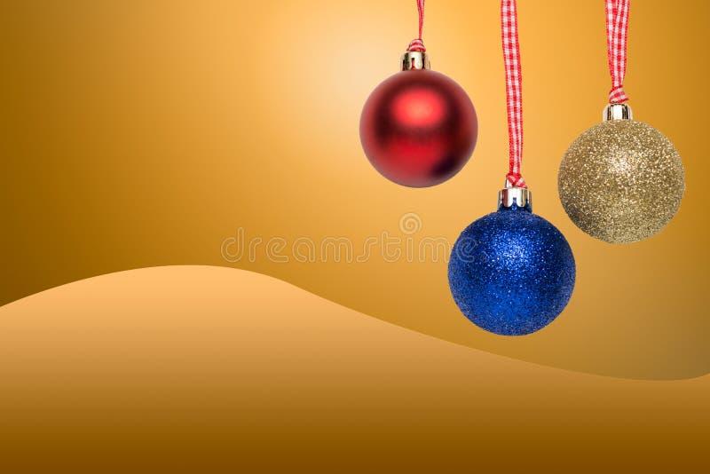 Bolas da árvore de Natal - cartão imagens de stock royalty free