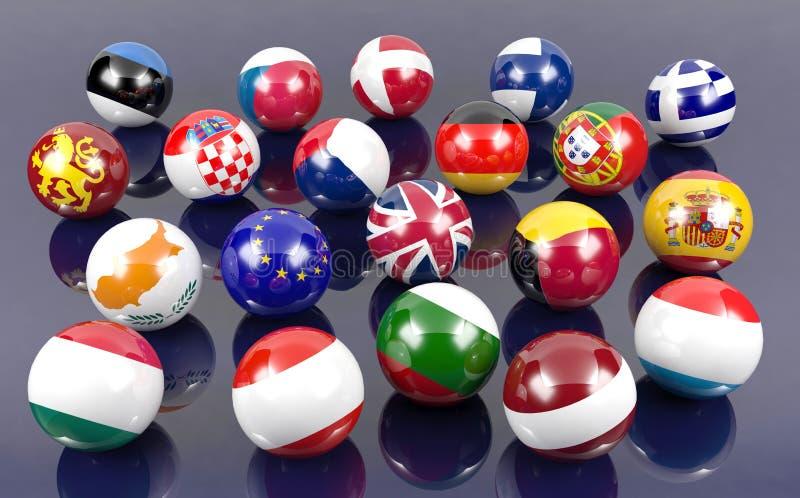 Bolas da bandeira de países membros do Euro ilustração stock