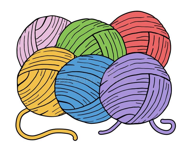 Bolas da cor das lãs ilustração stock