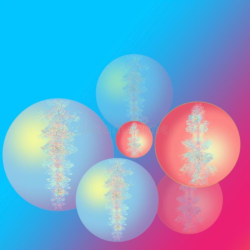 Bolas da cor do Natal Cart?o do ano novo feliz Bolas cor-de-rosa azuis do Natal com a flor e a imagem a céu aberto Arco-?ris do f imagens de stock royalty free