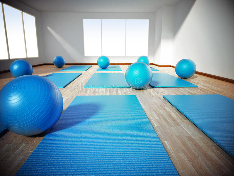 Bolas da esteira e do exercício de Pilates que estão no assoalho de parquet ilustração 3D ilustração royalty free