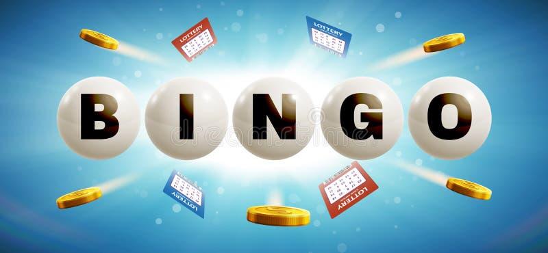 Bolas da loteria no fundo de incandescência azul com bilhetes ilustração do vetor