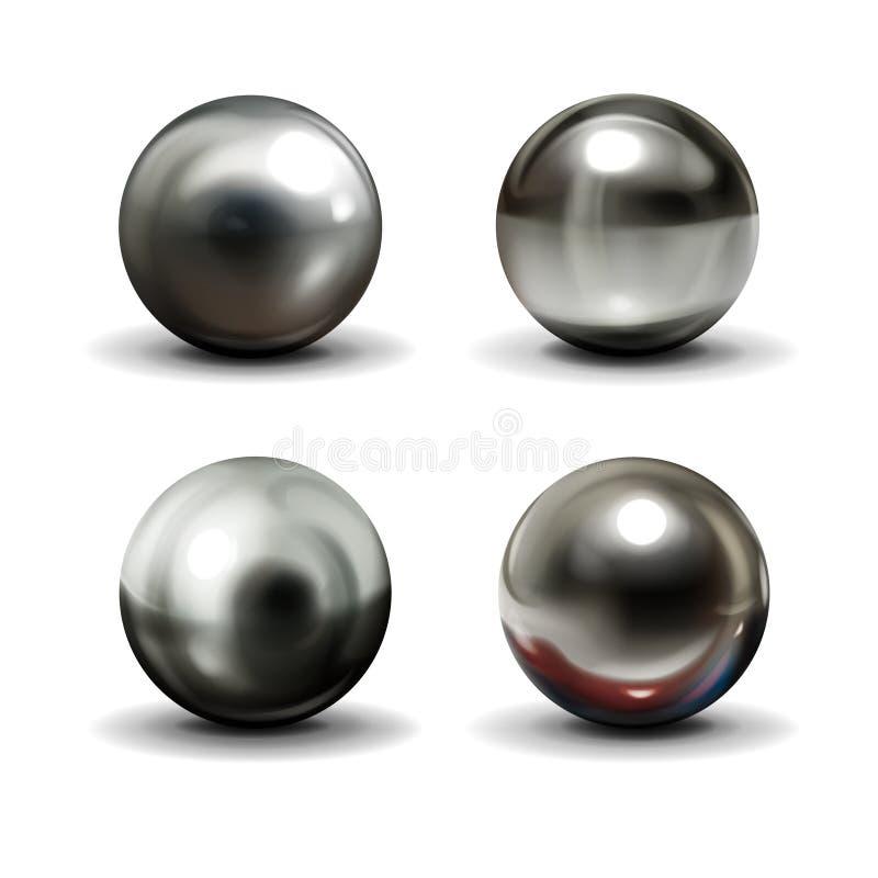 Bolas de acero en el vector realista superficial blanco stock de ilustración