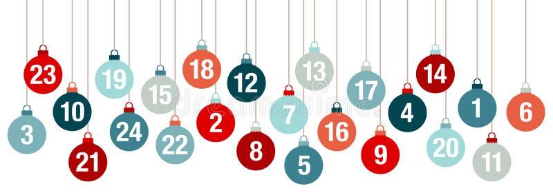 Bolas de Advent Calendar Banner Hanging Christmas rojas y azules ilustración del vector