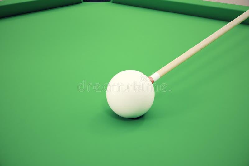 bolas de bilhar da ilustração 3D em uma mesa de bilhar verde, jogo do bilhar da associação, conceito do bilhar ilustração royalty free