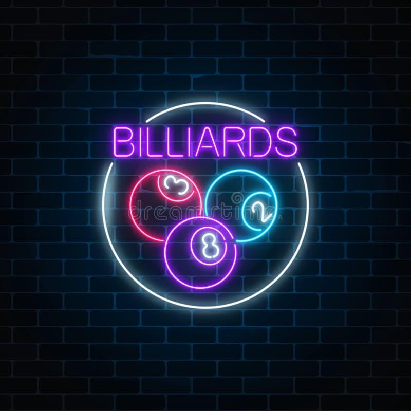 Bolas de bilhar no quadro do círculo no estilo de néon Quadro indicador de néon de incandescência do bar com bilhar Símbolo do ta ilustração stock