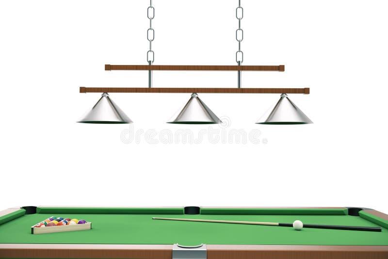 bolas de billar del ejemplo 3D en la tabla verde con la señal del billar, billar, juego de la piscina Concepto del billar ilustración del vector