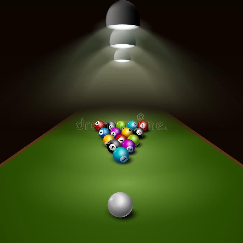 Bolas de billar en vector de la tabla con la luz Ejemplo del ocio de la competencia de deporte del juego del billar libre illustration