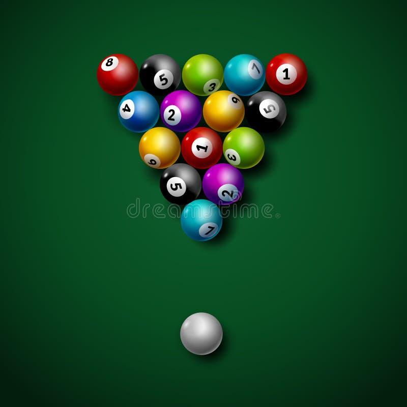 Bolas de billar en vector de la tabla Ejemplo del ocio de la competencia de deporte del juego del billar ilustración del vector