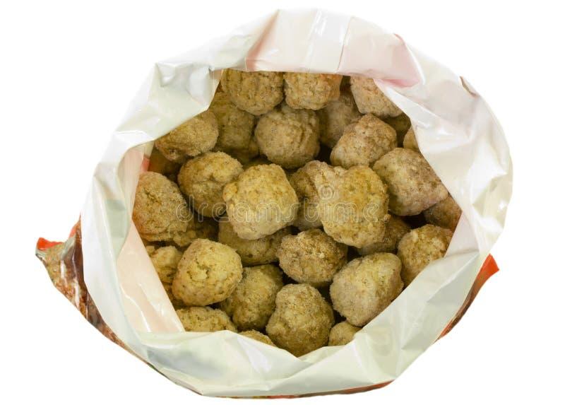 Bolas de carne congeladas en bolso imágenes de archivo libres de regalías