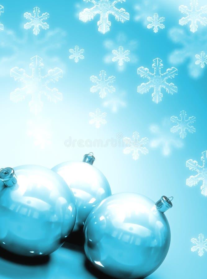 Bolas de Christmass con nieve stock de ilustración