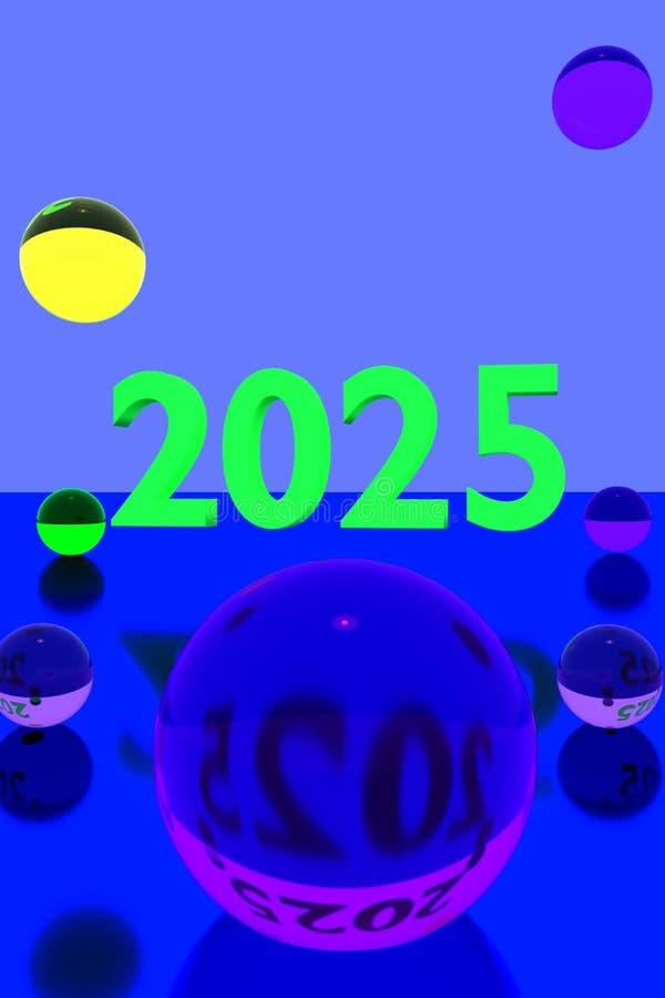 Bolas de cristal coloridas en la superficie reflexiva y el año 2025 ilustración del vector