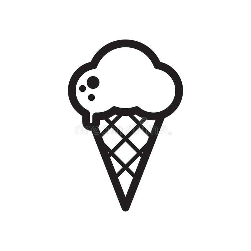 Bolas de derretimento preto e branco do gelado no cone do waffle isolado no fundo branco linha lisa ícone do vetor ilustração do vetor