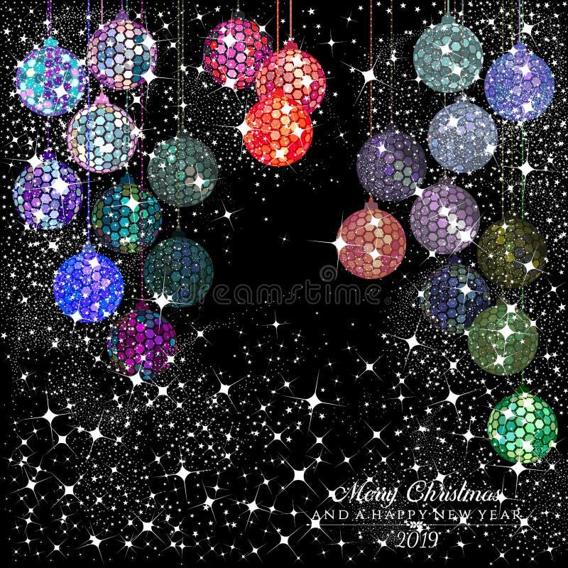 Bolas de discoteca del multicolor del hexágono con las estrellas y las chispas en un fondo negro ilustración del vector
