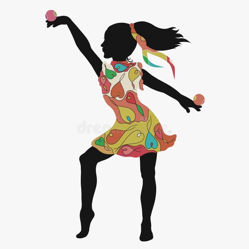 Bolas de equilibrio de la muchacha en un vestido con un modelo creativo ilustración del vector