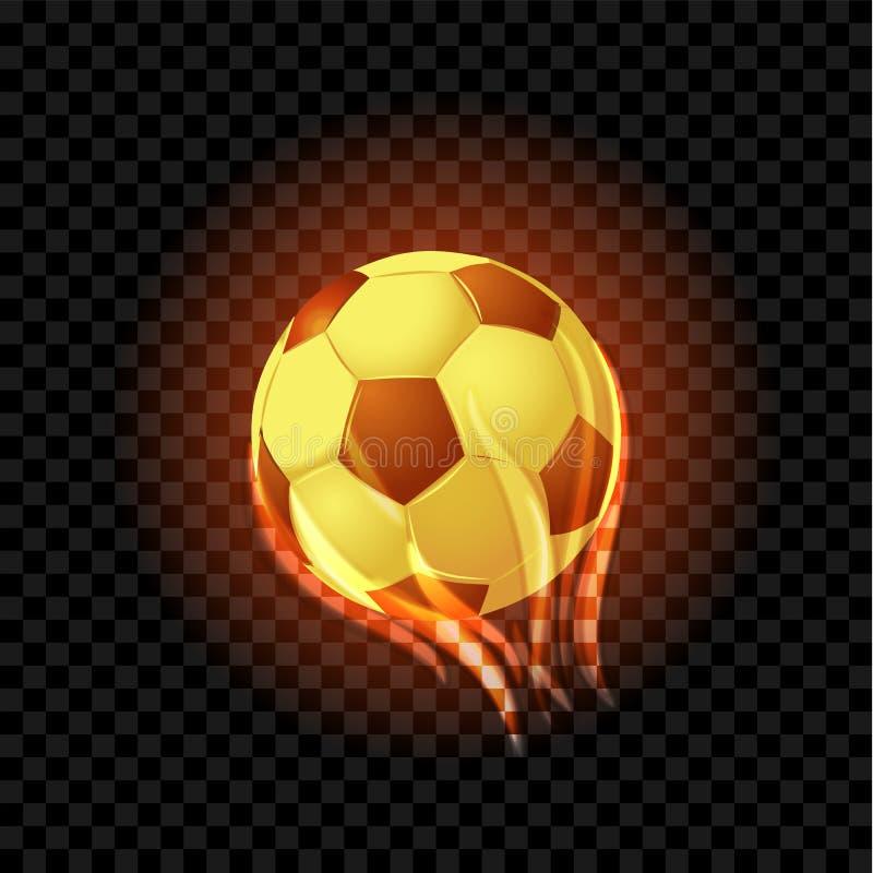 Bolas de futebol ardentes isoladas em um contexto transparente preto ilustração stock
