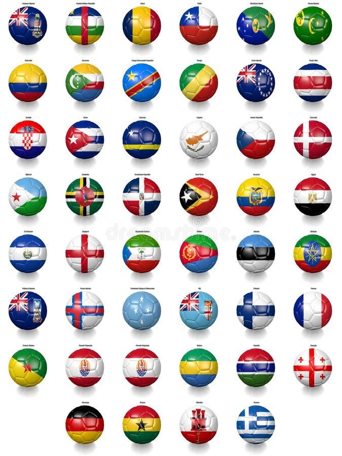 Bolas de futebol do futebol com texturas da bandeira nacional ilustração royalty free