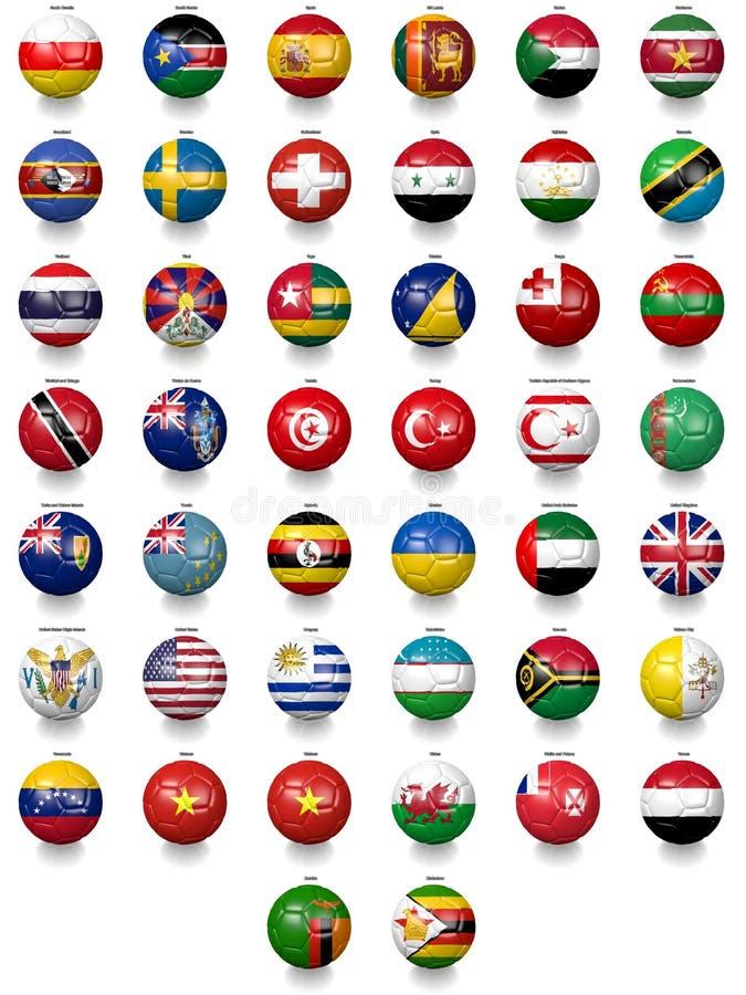 Bolas de futebol do futebol com texturas da bandeira nacional ilustração do vetor