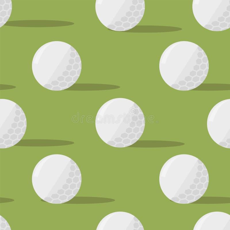Bolas de golfe Teste padrão sem emenda em um fundo verde Ilustração do vetor eps10 ilustração stock