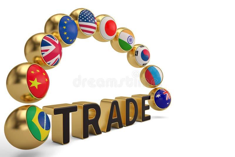 Bolas de la bandera nacional y palabra comercial en el illust blanco del fondo 3D libre illustration