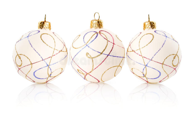 Bolas de la decoración de la Navidad aisladas en blanco fotografía de archivo libre de regalías