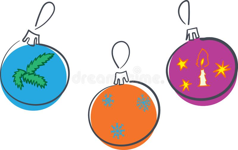 Bolas de la decoración del Año Nuevo tres diversos ornamentos con los copos de nieve vela y la rama, ejemplo del vector libre illustration