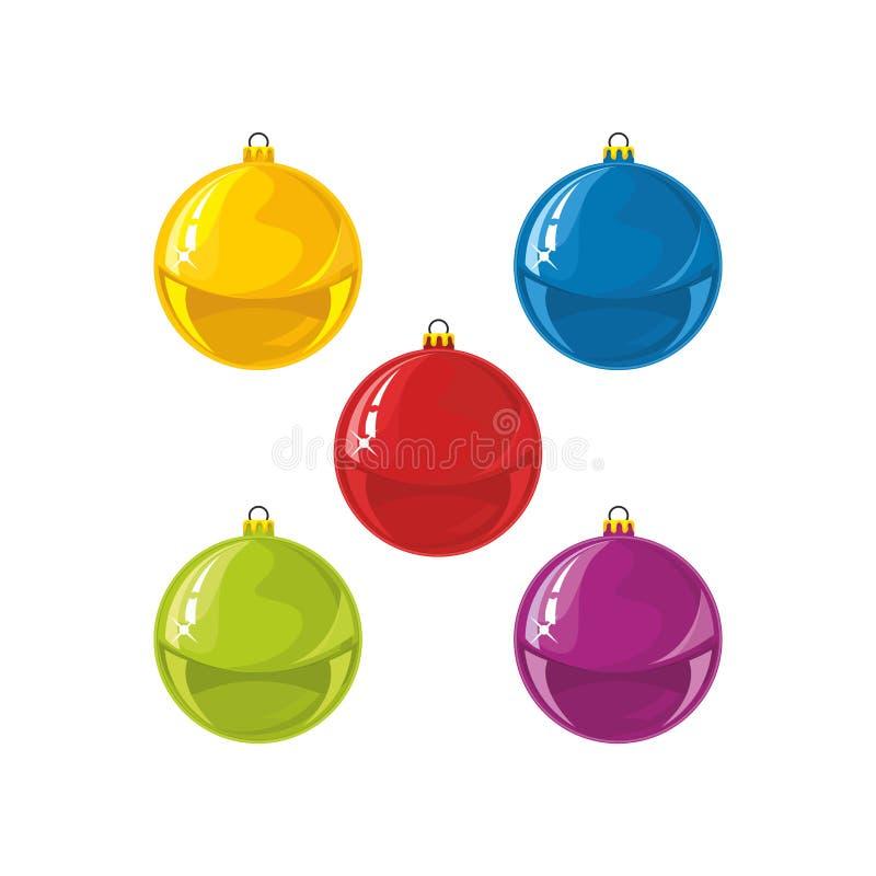 Bolas de la Navidad Bolas coloridas ilustración del vector