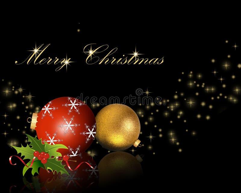 Bolas de la Navidad con acebo stock de ilustración