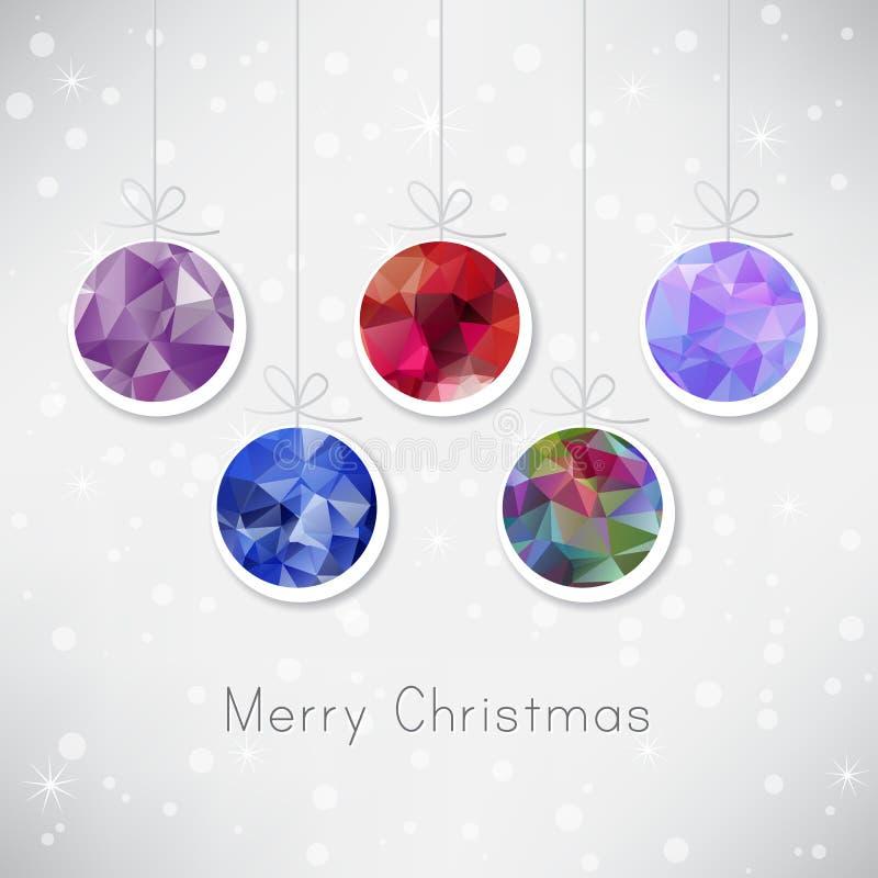 Bolas de la Navidad con el relleno del triángulo stock de ilustración