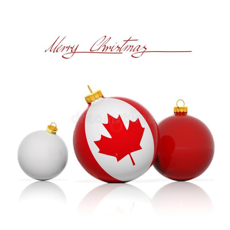 Bolas de la Navidad con la bandera de Canadá ilustración del vector
