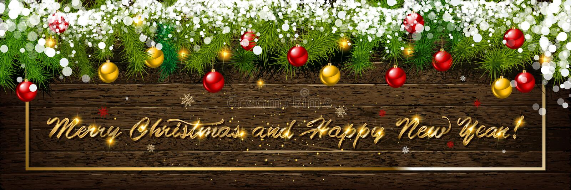 Bolas de la Navidad con las estrellas del oro y confeti en fondo de madera Día de fiesta que pone letras a Feliz Navidad y a Feli fotos de archivo libres de regalías