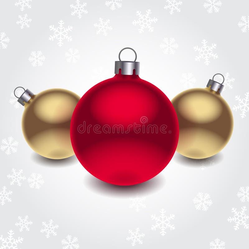 Bolas de la Navidad del vector 3d stock de ilustración