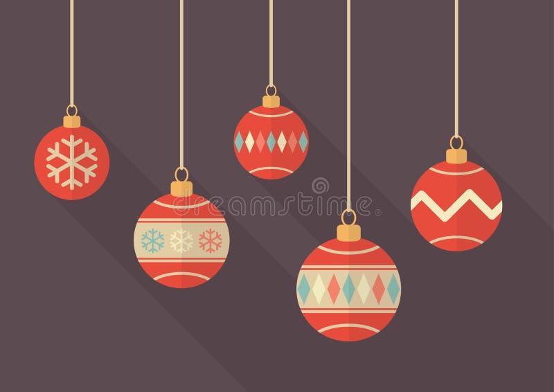 Bolas de la Navidad del vintage ilustración del vector