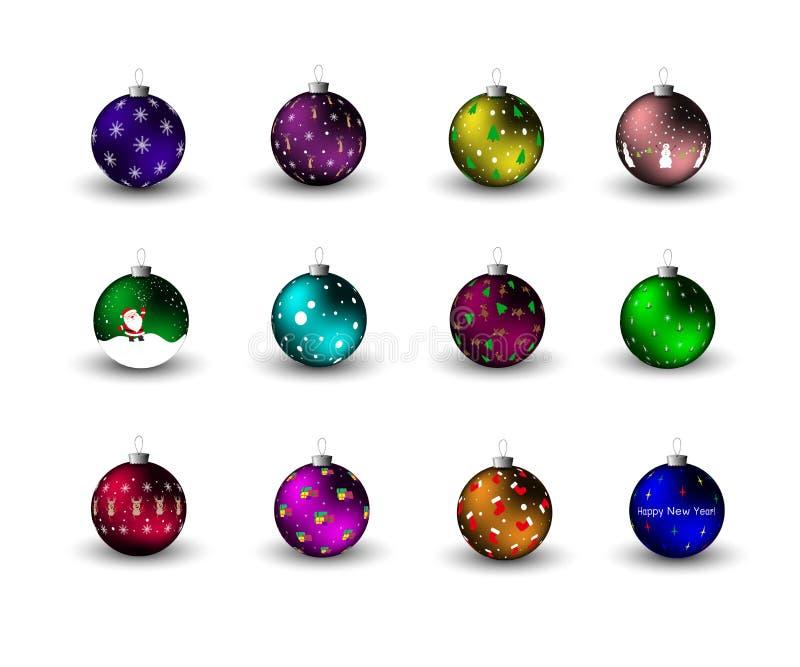 Bolas de la Navidad en el árbol de navidad Decoración del Año Nuevo stock de ilustración