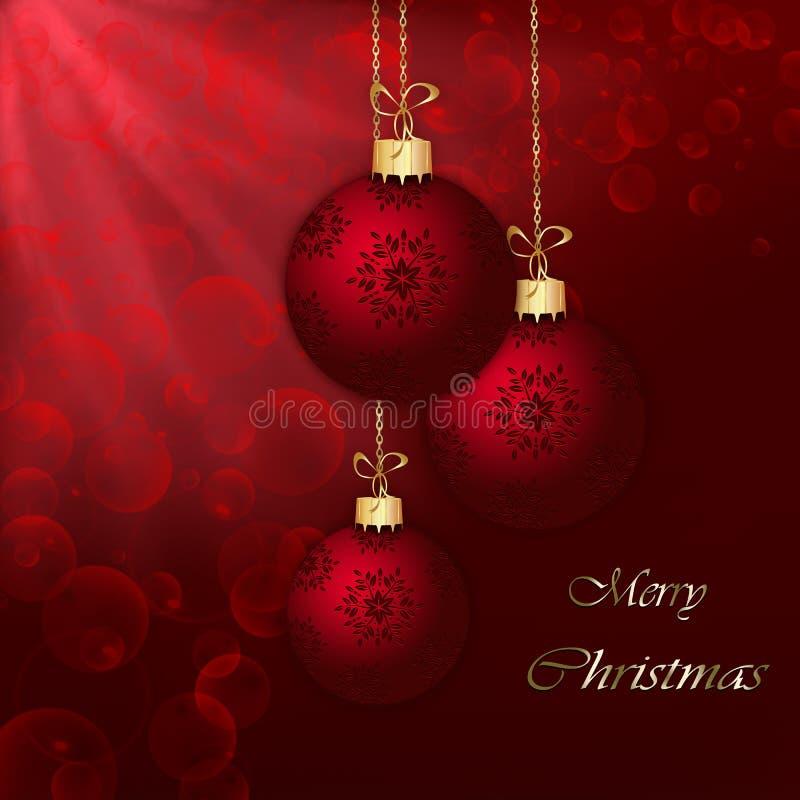 Bolas de la Navidad en fondo abstracto rojo. stock de ilustración