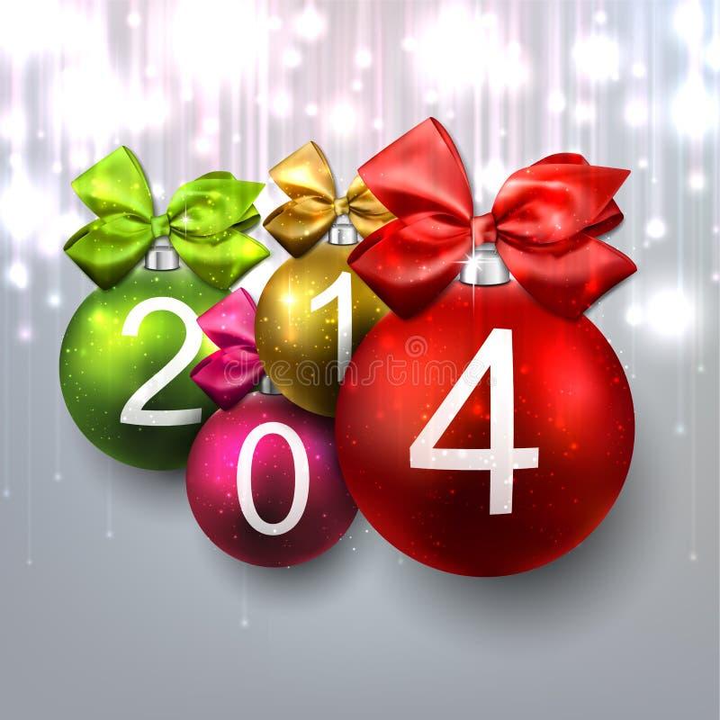 bolas 2014 de la Navidad en fondo brillante. stock de ilustración