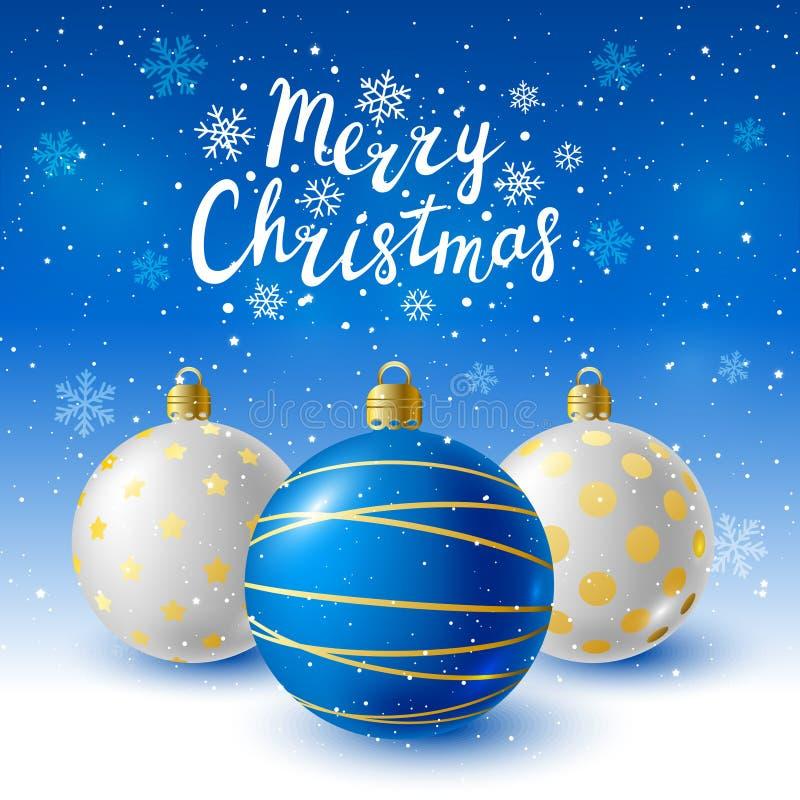 Bolas de la Navidad en fondo estrellado stock de ilustración