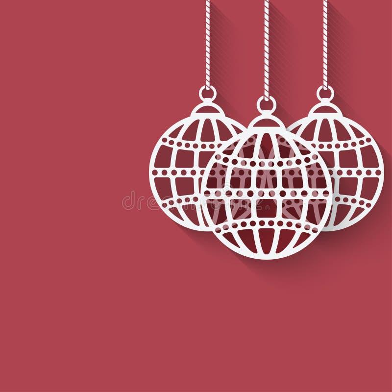 Bolas de la Navidad en fondo rojo stock de ilustración