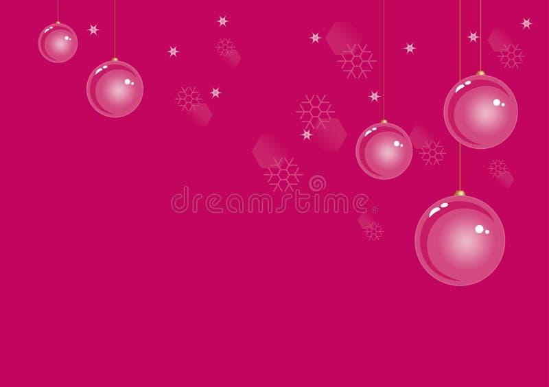 Bolas de la Navidad en fondo rosado oscuro del invierno con los copos de nieve y las estrellas Cmyk del vector EPS 10 ilustración del vector