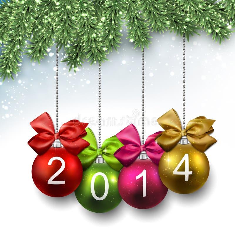 bolas 2014 de la Navidad en ramas del abeto. libre illustration