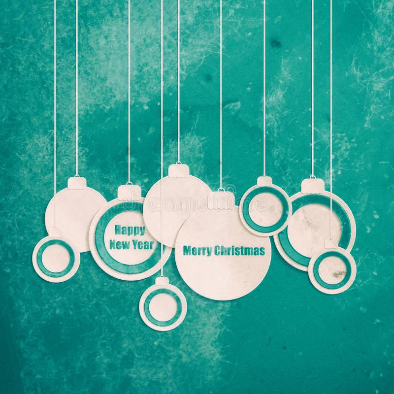 Bolas de la Navidad Erd vibrante y fondo cortado del Libro Blanco stock de ilustración