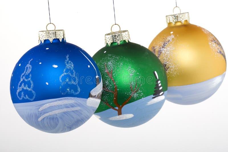 Bolas de la Navidad pintadas a mano fotos de archivo libres de regalías