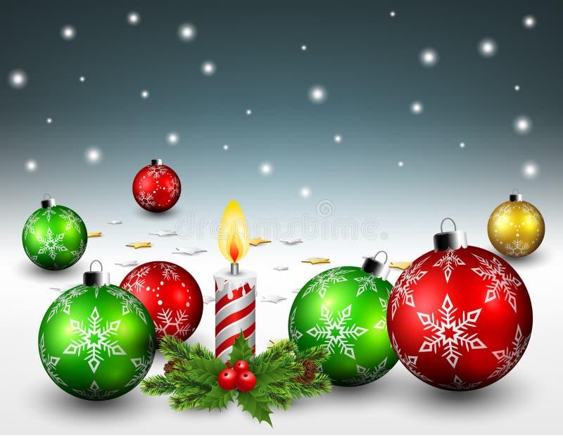 Bolas de la Navidad y fondo ligero de la vela ilustración del vector