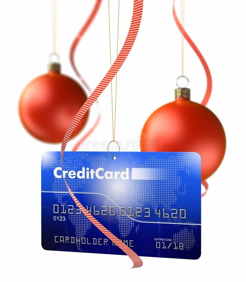 Bolas de la Navidad y tarjeta de crédito ilustración del vector