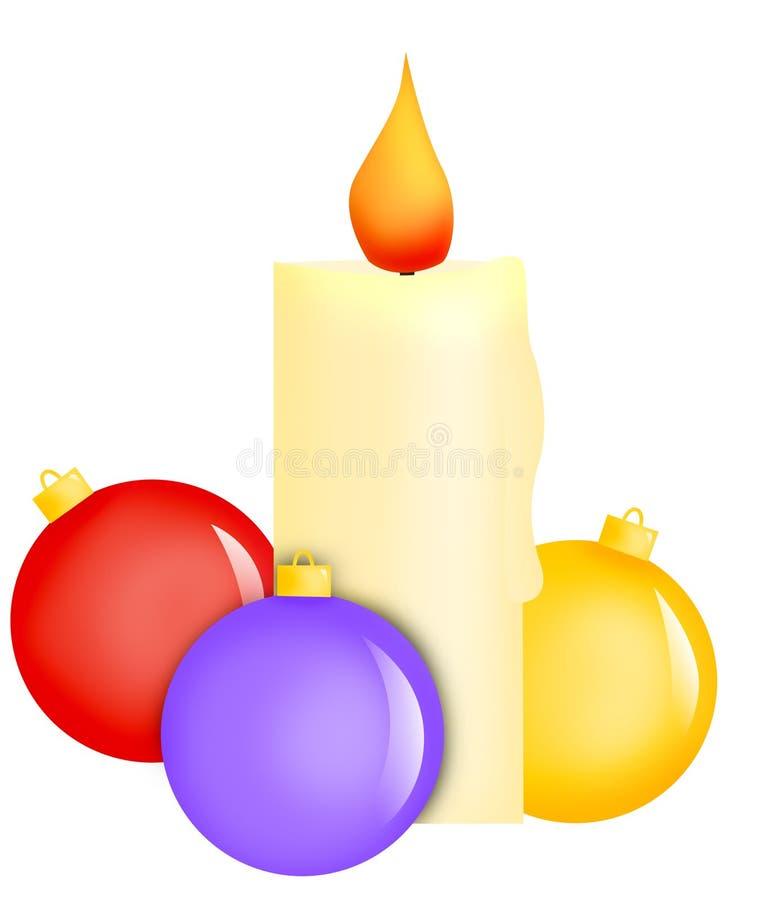 Bolas de la vela y de la Navidad stock de ilustración