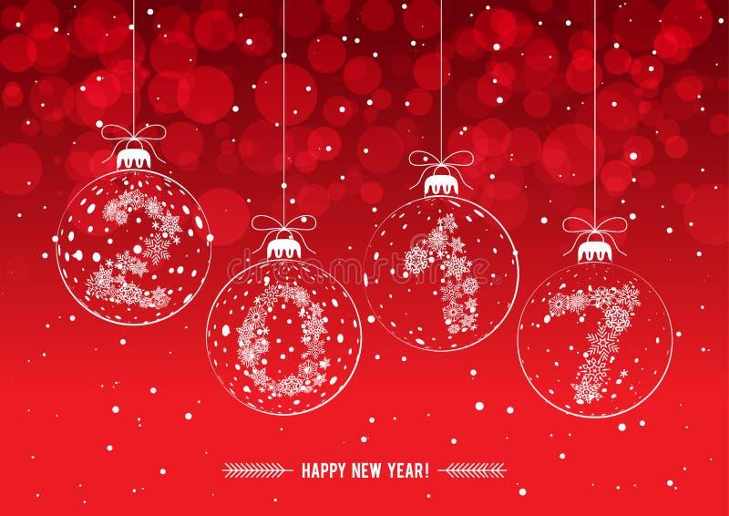 Bolas de las decoraciones de la navidad con los cuadros 2017 ilustraci n del vector imagen - Decoracion con bolas de navidad ...