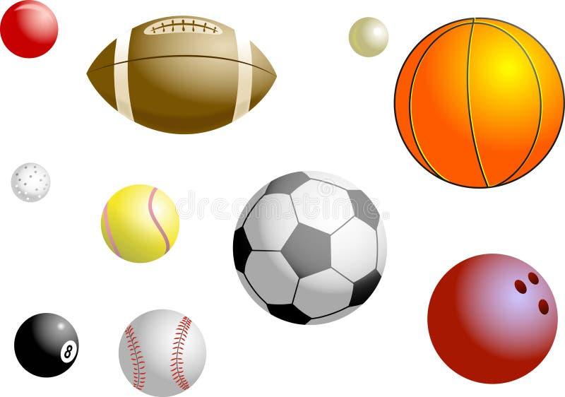 Bolas de los deportes stock de ilustración