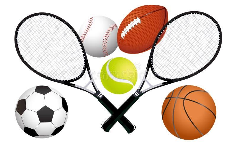 Vector Deportes Bolas Patrón De Fondo: Bolas De Los Deportes Y Raquetas De Tenis Ilustración Del
