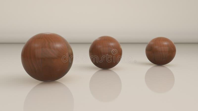 Download 3 bolas de madera stock de ilustración. Ilustración de negro - 41919273